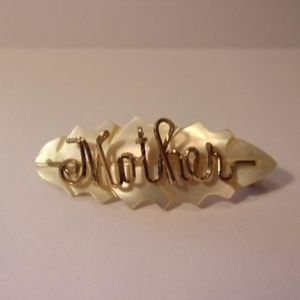Jewelry - Vintage Mother Script Mother of Pearl Brooch